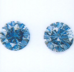 Cert photo - photos are a poor representation of the reality of these blue diamonds.
