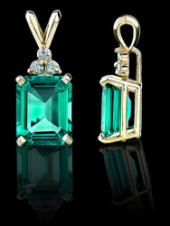 Diamond and Cultured Emerald Pendant