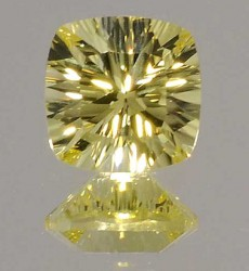 Avarra Lemon Yellow Lab Sapphire: Concave Cushion Cut