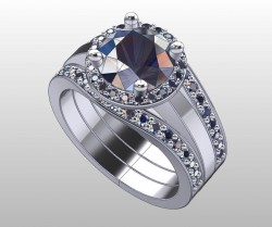 Milano wedding set - Milano bands and center Milano ring.