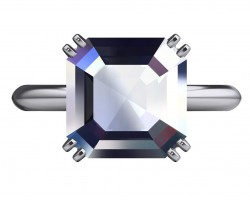 Computer generated image showing new ring design, center Asscher is 11mm.