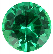 Emerald - Lab Grown Colombian, Round Diamond Cut