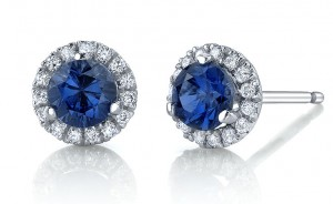 Halo micropave studs set with our Kashmir lab sapphires