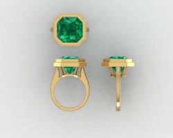 Custom ring, asscher in gold bezel