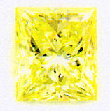 0.52 ct  Princess Cut Fancy Vivid Yellow Takara Diamond