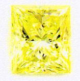 0.52 ct  Princess Cut Fancy Vivid Yellow Takara Diamond