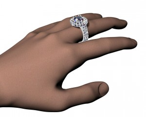 Extravaganza halo ring with optional matching band (CAD image)
