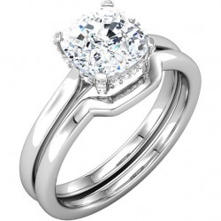 Shallon Band shown here with matching Shallon Engagement Ring with Micropave Basket.