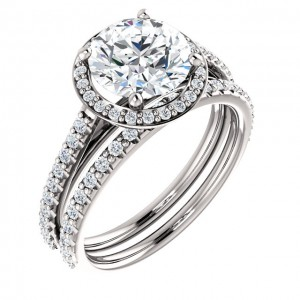 Cuileann Micropave Halo Engagement Ring shown here with optional but available matching band.