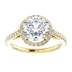 Cuileann Micropave Halo Engagement Ring in yellow gold with an 8mm center stone.