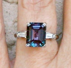 8x10mm emerald cut Avarra Alexandrite in our Timeless Tapered Baguettes setting