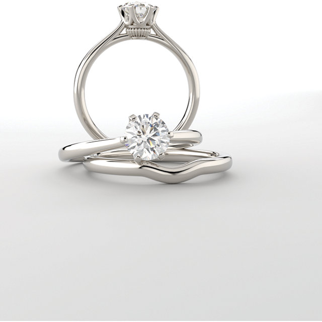 196710e3d Coronet Solitaire Ring shown here with optional but available matching  band. Center stone is a