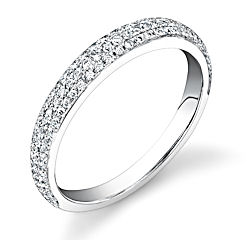 3mm, 3 row micropave diamond band