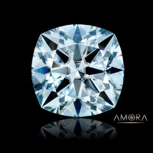 Amora Gem Ultra H&A Cushion in fancy light blue Note: Intense light brings out more blue - it will not appear this blue in 'office' or similar lighting.