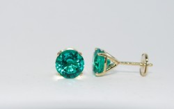 Avarra Lab Grown Colombian Emerald Stud Earrings