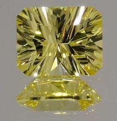 Avarra Lemon Yellow Lab Sapphire: Concave Emerald Cut