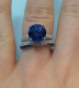 Customer photo : 9mm concave round Kashmir blue Avarra sapphire set in our 2-row Micropave Cathedral, ring size 7.  Band is customer's own.