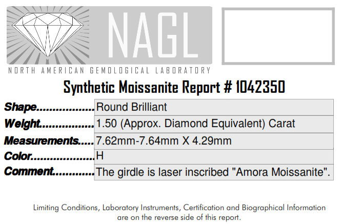 Amora moissanite review 7.5mm round cert