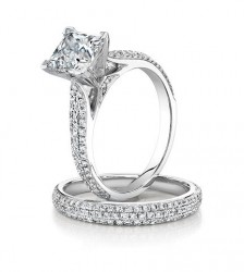 Cathedral 3 row Micropave ring shown with optional matching micropave band