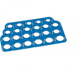 Ring size gauge, in standard whole and half sizes from 2 1/2 up to 14.  Plastic form snaps out of the sheet, and is labeled with the ring size.   Each measures 4mm wide.