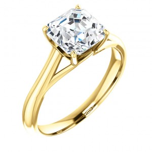 Feabhraíd Trellis Cathedral Solitaire Ring in yellow gold with a 7mm Asscher.