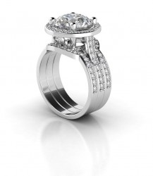 Side view of wedding set - showing wedding band.  This item is 1 band only, ring and other band not included :)
