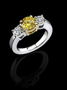 Takara 1.23ct Yellow Lab Diamond with side natural white diamonds.