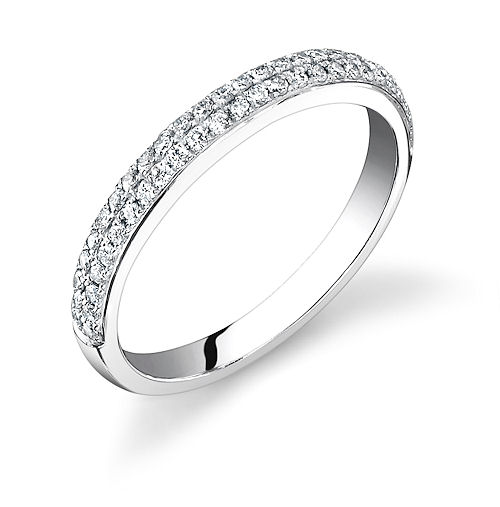 Cathedral Micropave Wedding Band 2 Row 2 5mm