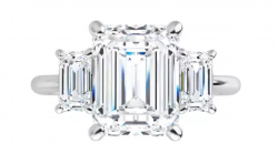 Triumph 3 stone Phoenix Moissanite Emerald cut ring (computer model of 9x7mm center)