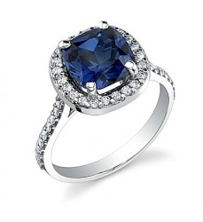 Our Timeless Halo Ring (for cushion centers - shown with 8mm Kashmir cultured sapphire)