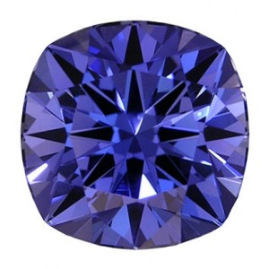 Example photo showing our H&A cushion cut, in a Kashmir blue.