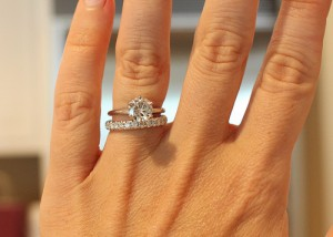 Customer photo - 8mm Amora Moissanite, next to F/G diamond band
