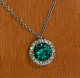 Customer photo - 8mm lab Colombian emerald in halo micropave pendant