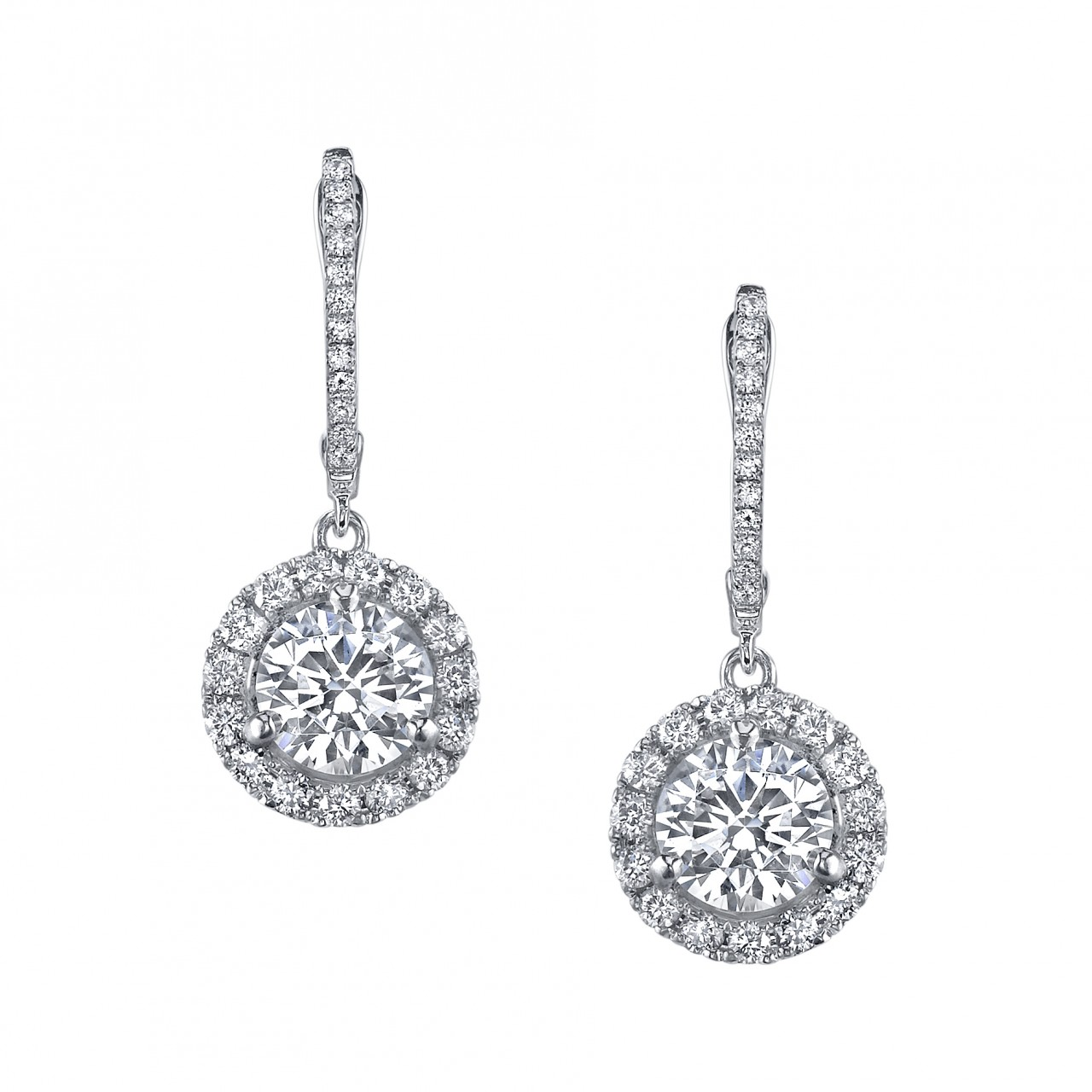 Micropave halo dangle earrings