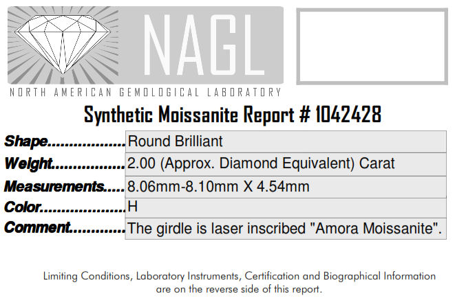 Amora Moissanite review cert 8mm