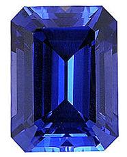 Kashmir Blue Lab Sapphire:  Emerald Cut