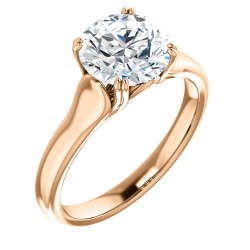 Aster Double-Prong Cathedral Solitaire Ring in rose gold with an 8mm round center.