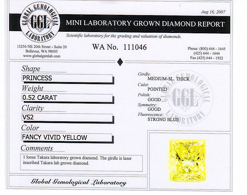 yellow diamond grading report